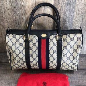 Gucci vintage satchel doctor bag rare large navy